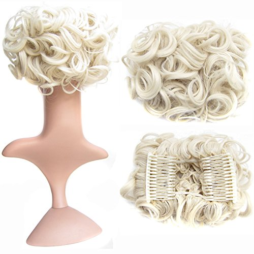 Braid Platinum - SWACC Short Messy Curly Dish Hair Bun Extension Easy Stretch hair Combs Clip in Ponytail Extension Scrunchie Chignon Tray Ponytail Hairpieces (Platinum Blonde-60#)