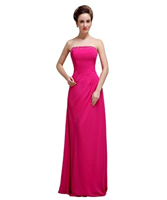 YesDress Women Elegant Pretty Chiffon Strapless Floor-length Rose Red Bridesmaid Dress Simple Prom Dress