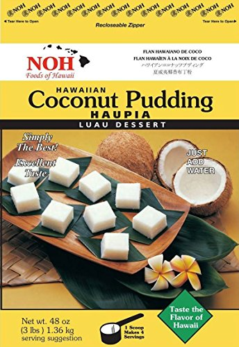 NOH Foods of Hawaii Hawaiian Coconut Pudding (Haupia) Mix, 3 Pound (Pack of 5)