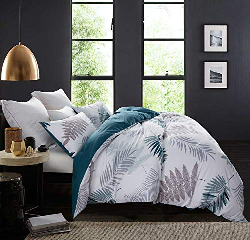 SLEEPBELLA Duvet Cover Set, 600 Thread Count Cotton Leaf Floral Pattern Print Comforter Reversible Quilt Cover Set (Queen, Peacock Blue-Leaf)