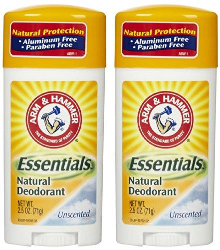 Arm & Hammer Essentials Natural Deodorant, Unscented - 2.5 oz - 2 pk