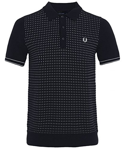 Fred Perry Men's Jacquard Knitted Cotton Polo Shirt Navy (Navy Jacquard Polo)