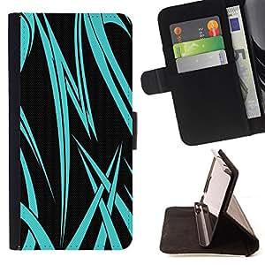 - Neon Blue Tribal - - Prima caja de la PU billetera de cuero con ranuras para tarjetas, efectivo desmontable correa para l Funny HouseFOR HTC Desire 820