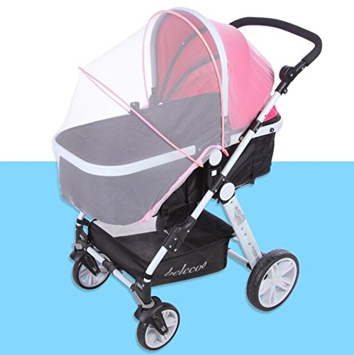 Topwon Universal Full Cover Baby Mosquito Net/Insect Mesh Netting Fits Most Strollers Bassinets, Cradles Chair seat and Car Seats Safe Elastic Design - Pink by Topwon (Image #6)