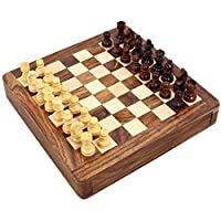 ShalinIndia Handcrafted Wooden Magnetic Chess Set, 7-Inch-by-7-Inch