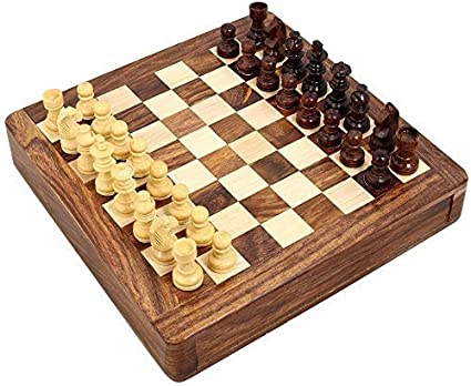 """7/""""x7/"""" Wooden Magnetic Travel Chess Set With Drawer /& Staunton Chess Pieces"""
