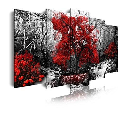 DekoArte 257 - Cuadros Modernos Impresion de Imagen Artistica Digitalizada | Lienzo Decorativo para Salon o Dormitorio | Estilo Paisaje Blanco y Negro con Arboles Rojos Naturaleza | 5 Piezas 150x80cm