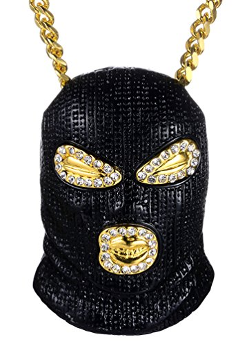 Halin Dre Hip Hop Nightclub Bars Plated Alloy Iced Out Mask Pendant Cuban Chain Necklace(BlackGoldWhite)(Black) by Halin Dre