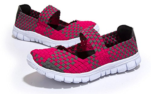 Shoes Rose Big Size Women's Elastic Breathable Colors Water Weight Walker Slip Woven Sneaker Fitness Flat Trainer Light On GFONE Comfort Sport Rq6TBT