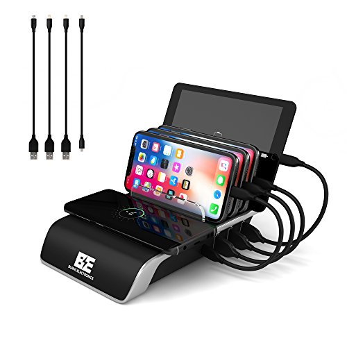 Charging Station for Multiple Devices, Burns Electronics Docking Station with Qi Wireless Charging Pad, Smart IC Technology for Smartphones, Tablets, Watches, USB Type-C, Multi Port Desktop Organizer from Burns Electronics