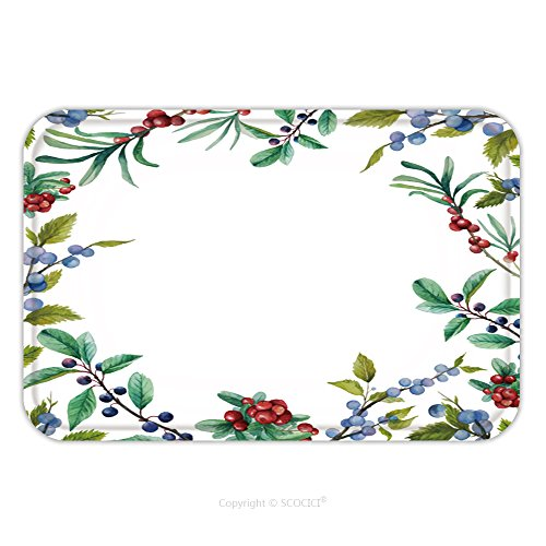 Flannel Microfiber Non-slip Rubber Backing Soft Absorbent Doormat Mat Rug Carpet Watercolor Wild Berries Frame Hand Drawn Floral Card Design With Natural Elements Cranberry 278790761 for Indoor/Outdoo (Wild Berry Mousse)