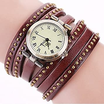 Fashion relojes Vintage correa de piel remaches relojes Casual mujer reloj de cuarzo reloj regalo,