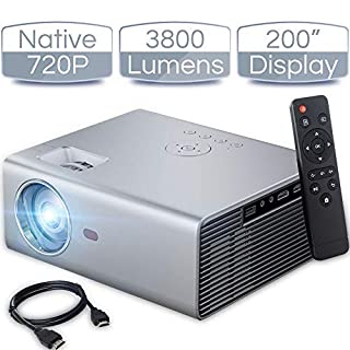 "iCODIS T400 Video Projector, Full HD 1080P Supported, 3800 Lux Mini Projector with 50,000 Hrs, 200"" Display Home Theater Movie Projector, Compatible with Fire TV Stick/ Smartphone/ PS4/ PC /HDMI / USB"