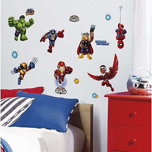 [Marvel Superhero Comic - The Avengers X-Men Super Hero Squad Wall Decals - Spider-Man, Iron-Man, Thor, Wolverine, Fantastic 4, Captain America, Hulk, Silver] (Avengers Superhero)
