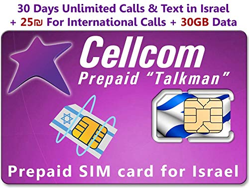 Israel Prepaid SIM Card from Cellcom, Including 30 Days Unlimited Israel Calls & Text + 30GB Data + 25 Shekel for International Calls, Fits Any Size SIM Card Micro Nano - Nano Case Sim