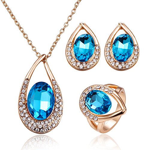 Crystal Necklace, 14K Gold Plated Chain Water Drops Blue Crystal Pendant Necklace Earring Ring Wedding Bridal Jewelry Set - Blue + Ring7
