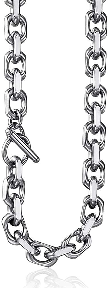 Trendsmax Stainless Steel Necklace Cable Rolo Link Chain Necklace for Mens Womens Stainless Steel Length Adjustable Personalized