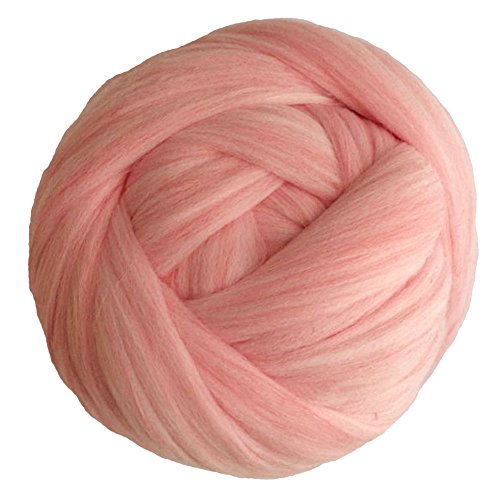 Zituop Acrylic Super Soft Chunky Yarn Bulky Roving for Arm Knitting Blanket, 1.1lb (Pale Pink) ()