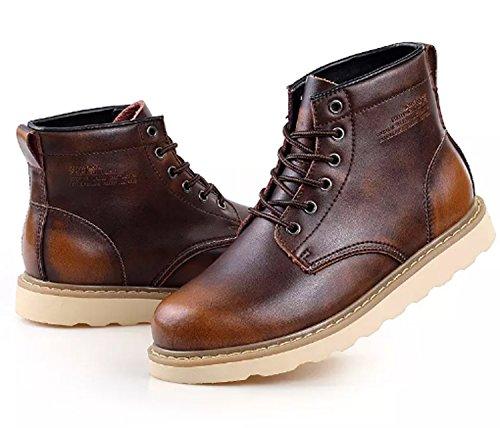 Pattrily Heren Winterlaarzen Hoge Sneakers Met Vetervetersluiting Warme Snowboots Fashion Sneaker Outdoor Antislipbruin