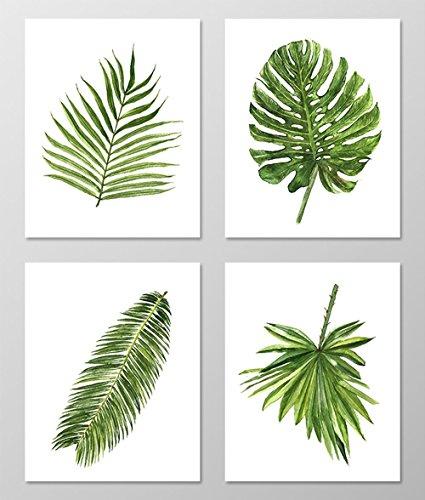 Amazon.com: Green leaf art #A077 - Set of 4 art prints (8x10).Green ...