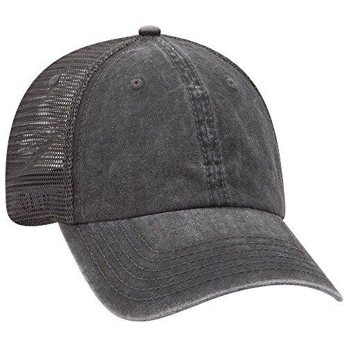 OTTO Flex 6 Panel Cotton Twill w/Soft Polyester Mesh Back Low Profile Cap - Blk/Blk/Ch.Gry