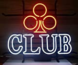Cozyle Glass Bright Neon Light Poker Club Neon Sign 17''x14'' Real for Poker Club Bar Game Room Casino