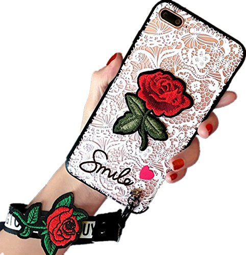 IPhone 6/6S Painted Relief Hand-Case Lace Embroidery Rose Iphone Case (White)