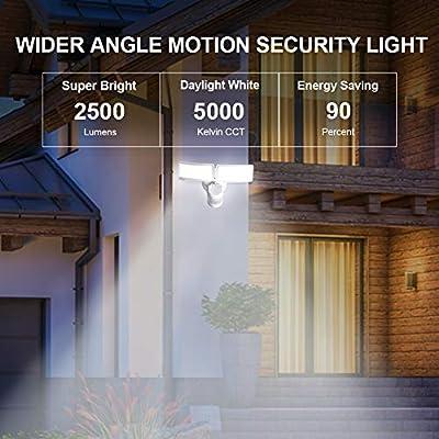 AIDEL 28W LED Security Lights Motion Sensor Outdoor Motion Flood Light 2500 Lumens 5000K Daylight White IP65 Waterproof, ETL Certified Dual-Head Exterior Security Light Outdoor