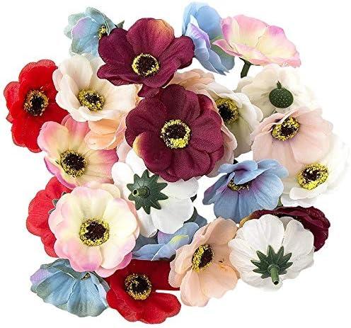 5  x Orchideenblüte creme  Blütenköpfe 12 cm x 10 cm Kunstblumen
