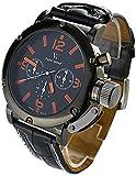 YouYouPifa Fashion Men's Business Quartz Black Band Watch Leather Strap Quartz Wrist Watch (Orange/Black Dial)