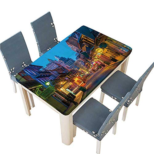 PINAFORE Waterproof SpillProof Tablecloth Pubs and Bars with neon Lights in The French Quarter New for Picnic,Outdoor or Indoor Party use W33.5 x L73 INCH (Elastic Edge)