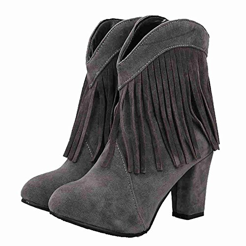 Chunky Grey Size Boots Heel Large Women SJJH Boots Tassel with Cowboy High Women Roman and Style SwAZqf