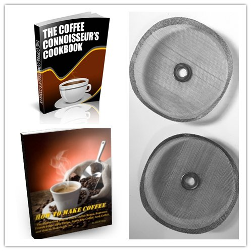 Open Kitchen Replacement Filter Mesh Screens for 3 cup (350 ml) French Press Coffee Maker Includes Metal Center Ring Stainless Steel Reusable Filter with 2 Bonus Coffee eBooks (Press French Cup Bonjour 3)
