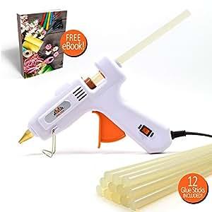 MELTOX Dual Watt Hot Melt Glue Gun Kit with 12 8-Inch Sticks, E-book, Adjustable Temperature 60W/100W and Retractable Stand