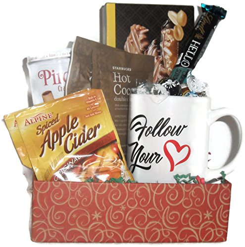 Follow Your Heart Mug Gift Set Filled With Chocolates and Goodies For A Special Friend For Valentines Or Any Occasion (Gourmet Cocoa Mug)