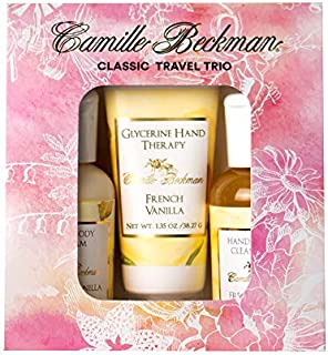 product image for Camille Beckman Classic Collection Travel Trios, French Vanilla, Glycerine Hand Therapy 1.35 oz, Silky Body Cream 2 oz, Hand & Shower Cleansing Gel 2 oz