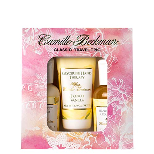 Vanilla Camille Glycerine French (Camille Beckman Classic Collection Travel Trios, French Vanilla, Glycerine Hand Therapy 1.35 oz, Silky Body Cream 2 oz, Hand & Shower Cleansing Gel 2 oz)