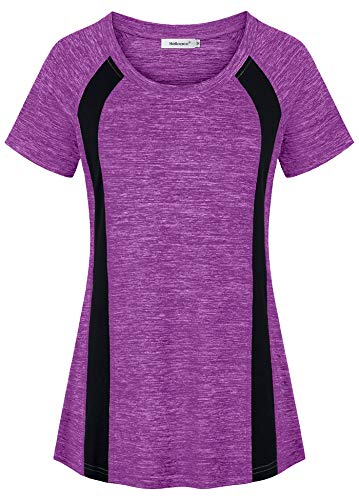 Helloacc Workout Clothes for Women,Boat Neck Flexible Blouses Marathon Lines Decorations Open Unisex Elastic Fitness Teens Crafted Swing Shirt Form Fitting Fashionable Slenderizing Career Magenta 2XL -
