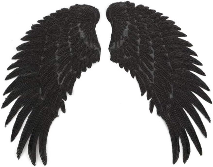 supvox Patch Pegatinas Planchar Bordado Lentejuelas alas de ángel DIY Ropa Parches Adhesivos (Negro): Amazon.es: Hogar