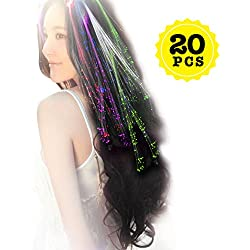 Wiekose 20pcs Multicolor Changing LED Flashing Fiber Optic Hair Braid Barrettes Lights for Party Supplies, LED Lights Hair, Bar Dancing Hairpin, Hair Clip, Multicolor Flash Barrettes Clip Braid (20)
