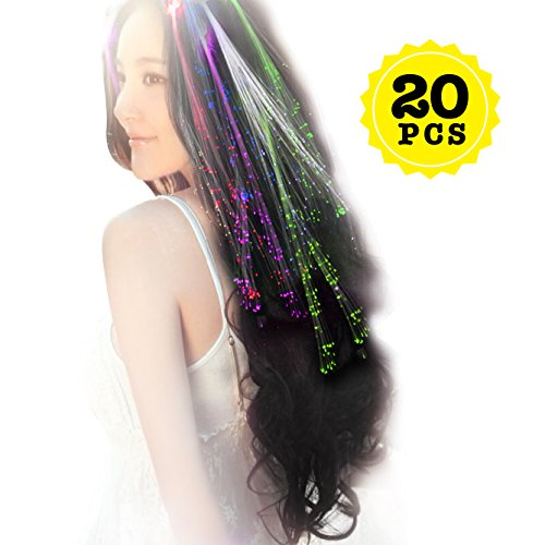 Wiekose 20pcs Multicolor Changing LED Flashing Fiber Optic Hair Braid Barrettes Lights for Party Supplies, LED Lights Hair, Bar Dancing Hairpin, Hair Clip, Multicolor Flash Barrettes Clip Braid (20) -