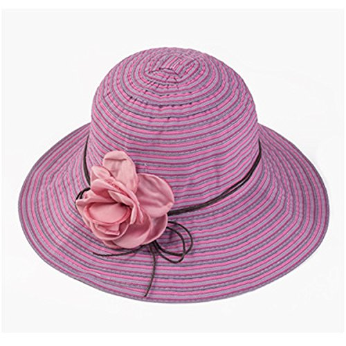 ylovego Elegant Girls Flower Belt Striped Summer Hats for Women Panama Sunhats Beach Hat Roses Opening Bone Cloth Straw Hat 5 ()