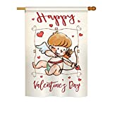 Happy Valentine's Day Cupid Vertical House Large Outdoor Decoration Flag 28″ x 40″