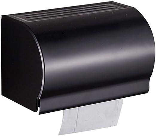 Soporte Para Rollos De Accesorios De Baño, Caja De Papel Higiénico Negro Caja De Papel Higiénico Cuadrada De Aluminio, Impermeable, Completamente Cerrada, Impermeable, Caja De Pañuelos, Tapa Impermeab: Amazon.es: Hogar