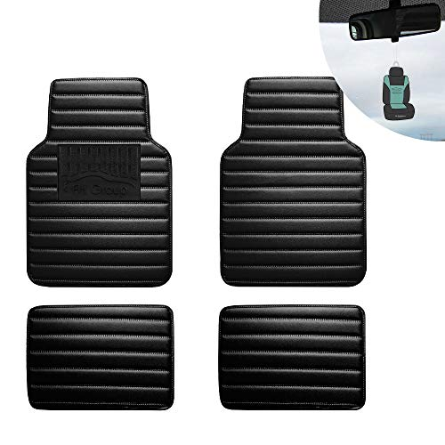 FH Group 12001 Luxury Universal All-Season Heavy Duty Faux Leather Car Floor Mats Stripe Design w. High Tech 3-D Anti-Skid/Slip Backing, Glossy Black Color