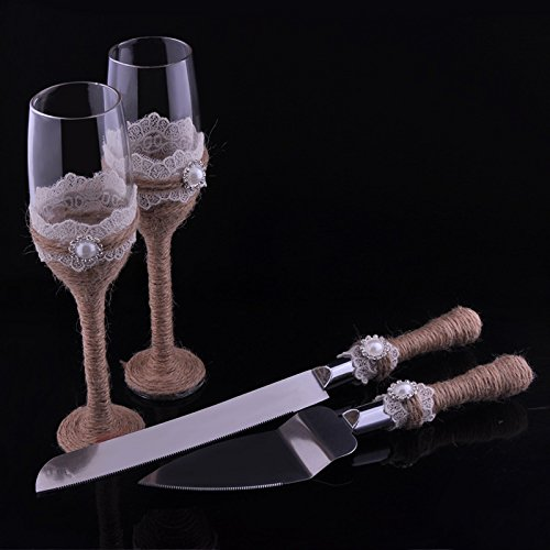 Elegant Wedding Champagne Wine Glasses & Cake Knife Server Set with Burlap Lace Rustic Flutes Novelty Gift ()