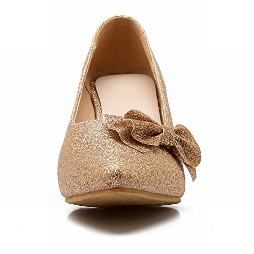 Shoes Pumps Heel Womens Elegant Gold Stiletto Bows Charm Foot High Classic Y8wzzx