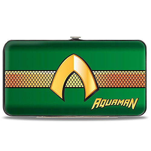 (Buckle-Down Hinge Wallet - AQUAMAN Classic Icon/Scales Stripe)
