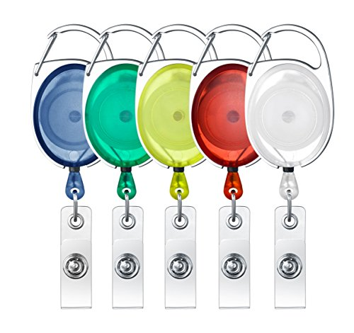 (Retractable Badge Holder Carabiner Reel Clip On ID Card Holder Translucent, Pack of 5- Assorted Colors)