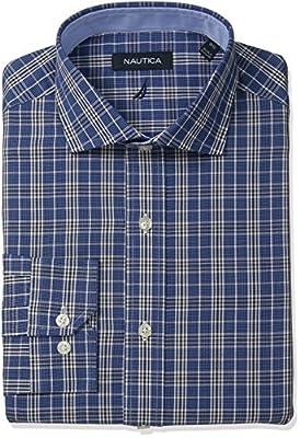 Nautica Men's Plaid Cutaway Collar Dress Shirt